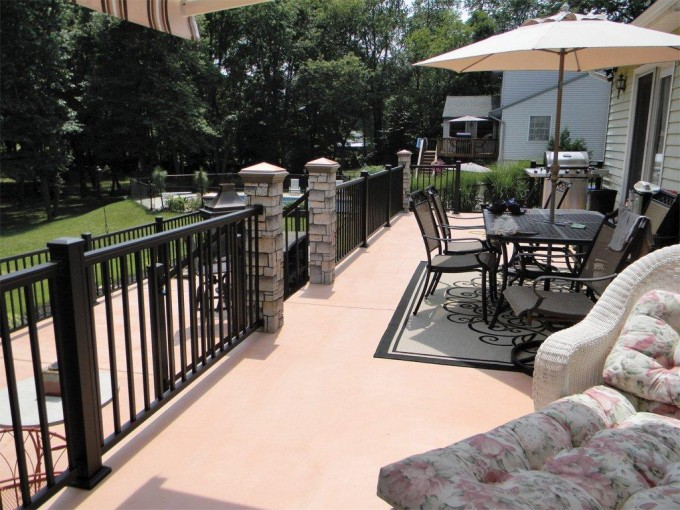 Aluminum Railing Attached To Brick Columns
