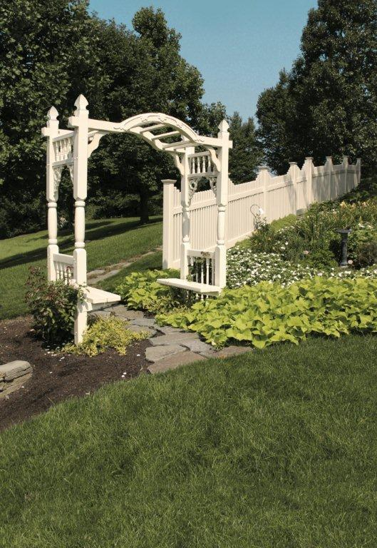 Madison Arbor With Benches And New England Concave Picket Fence